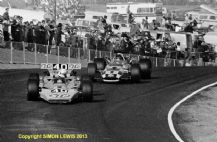 "LOTUS 56 Plymouth. George Follmer leads Bobby Unser (Eagle) Riverside USAC 1969 10x7"" photo"
